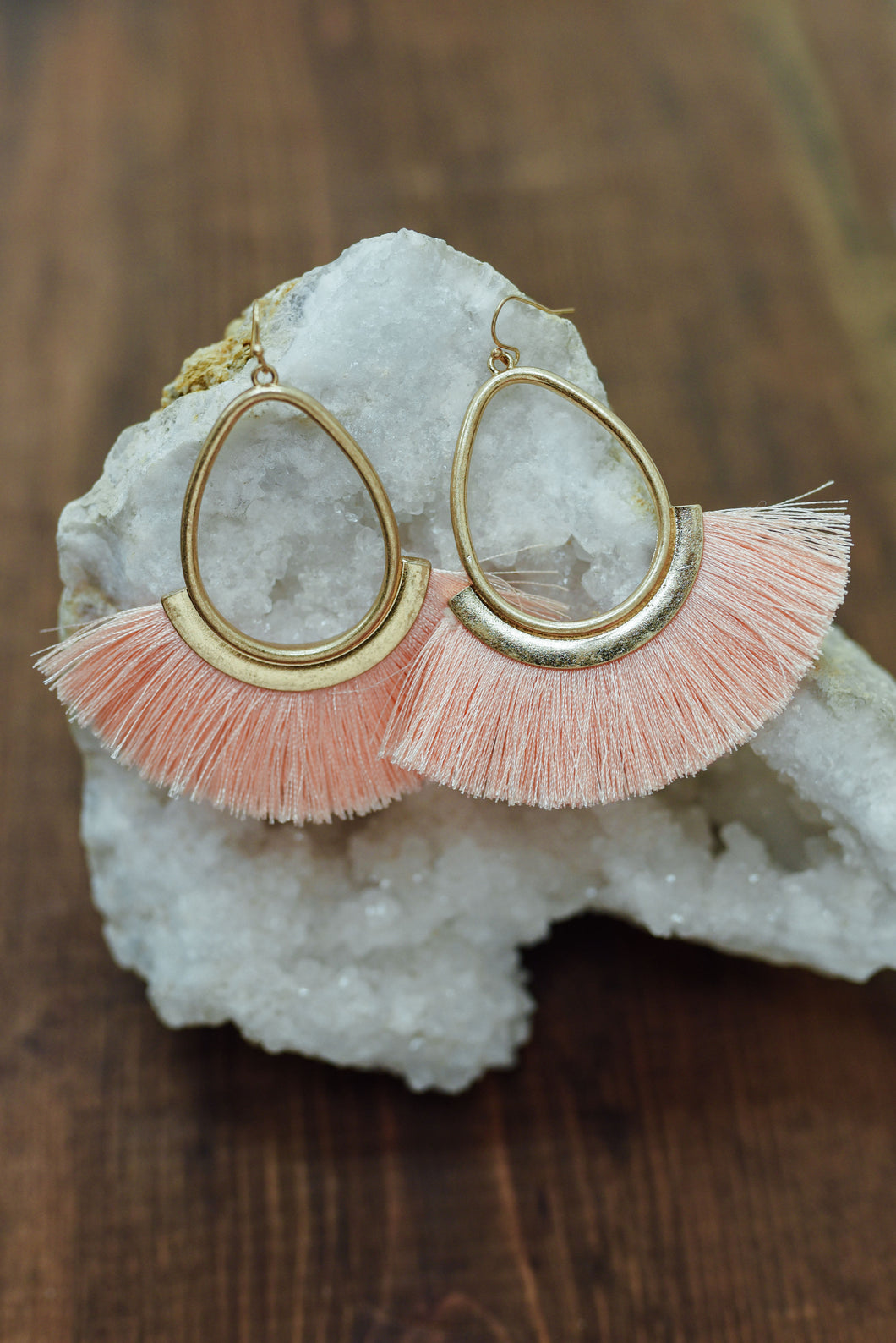 Peach Fan Fringe Earrings