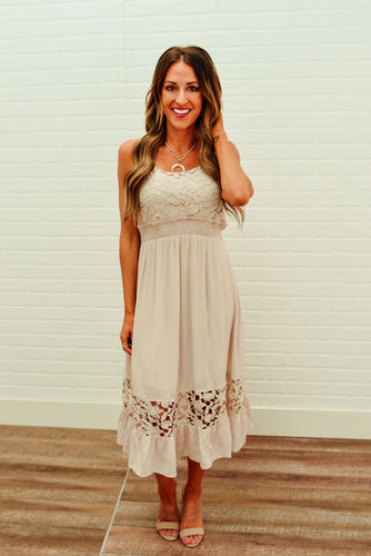 Tan Floral Crochet Dress