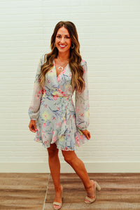 Grey Floral Wrap Dress