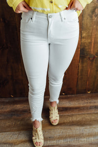 White Denim with Frayed Hem