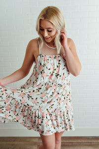 Ivory and Pink Floral Dress