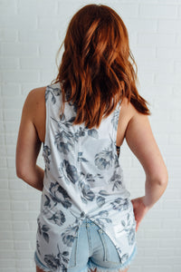 White and Grey Floral Tank
