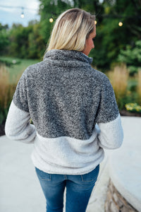 Charcoal and Grey Fuzzy Zip Pullover
