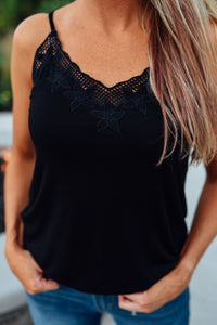 Black Embroidered Flower Cami