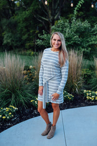 Grey and White Striped Front Tie Dress