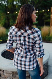 Navy and Peach Plaid Button Up