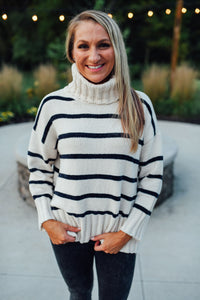 Cream and Navy Turtleneck Sweater