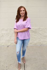 Lilac ruffle sleeve top - Sugar Threads Boutique