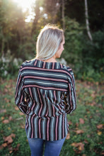 Collared Black and Red Stripe V-Neck Blouse