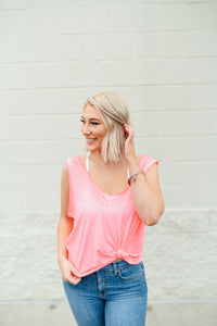 Casual hot pink top with knotted front and low back - Sugar Threads Boutique