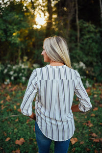 Cream Lilac and Black Stripe V-Neck Blouse