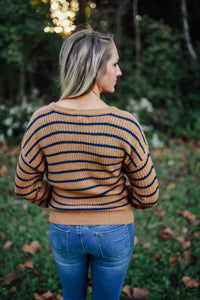 Camel and Navy Striped Lace Up Sweater