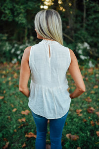 Natural Mesh Embroidered Tank