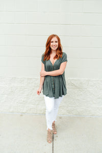 Green Button Down Tunic