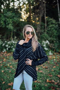Black and White Striped Crossover Turtleneck