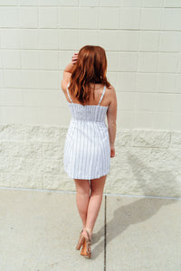 White and Black Pinstripe Dress