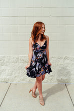 Low cut black and purple floral dress - Sugar Threads Boutique