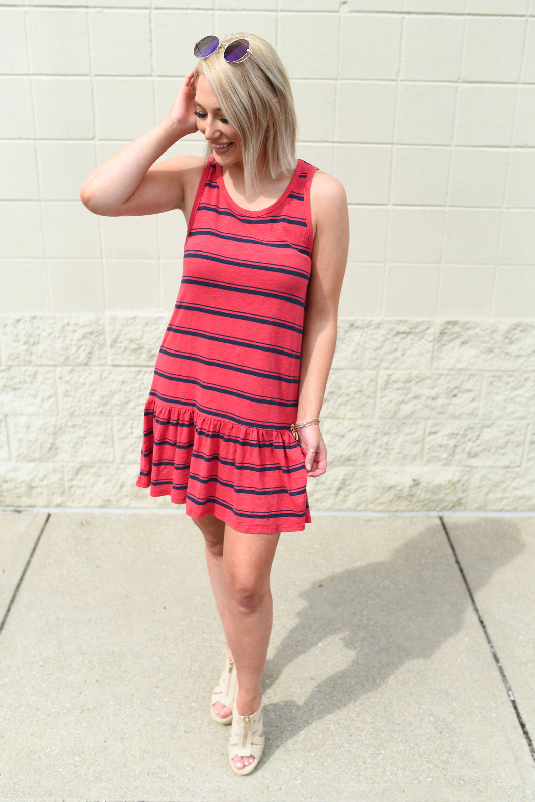 Casual black and red stripe dress with flair bottom - Sugar Threads Boutique