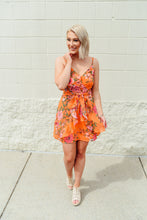 Orange and green floral ruffle dress with tie waist - Sugar Threads Boutique