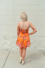 Orange Floral Ruffle Dress