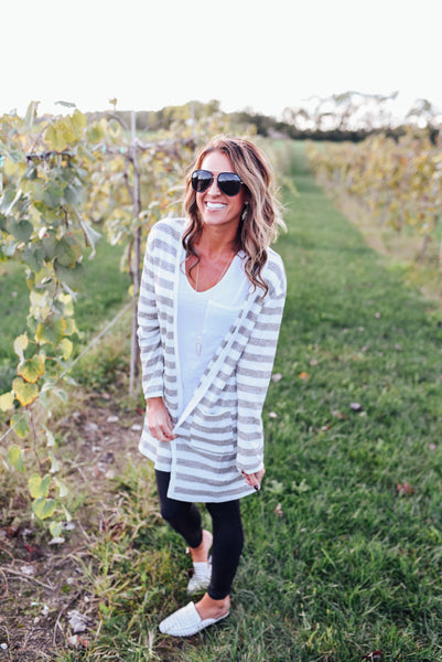 Mocha and Cream Striped Long Cardigan