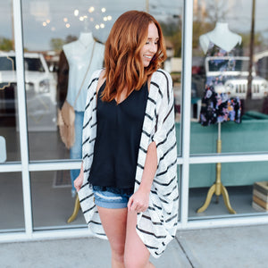 Ivory and Black Stripe Cardigan