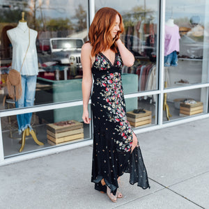 Black Crochet Trim Floral Maxi