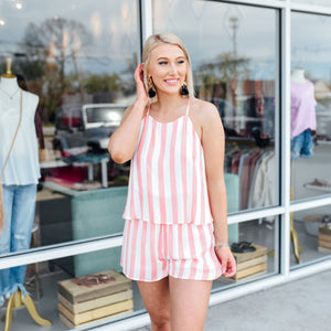 Coral and White Stripe Romper