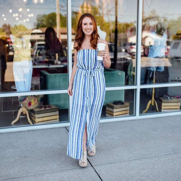 Women's blue and white striped maxi dress - Sugar Threads Boutique
