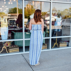 Blue and White Stripe Strapless Maxi Dress