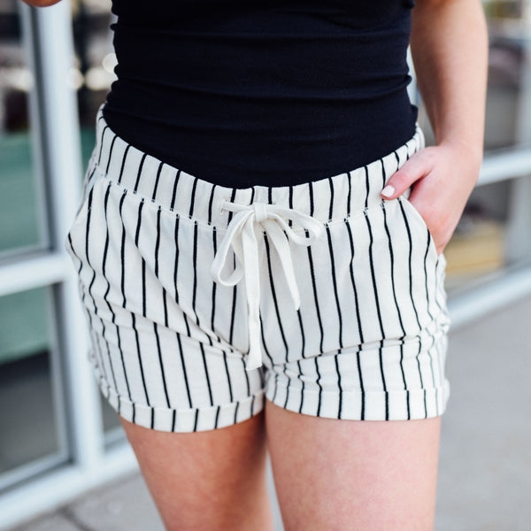 Black and Cream Pinstripe Shorts