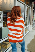 Burnt Orange and White Stripe Knit Top