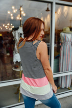 Black and White Stripe Colorblock Tank
