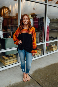 Black Tunic with Orange Print Sleeves