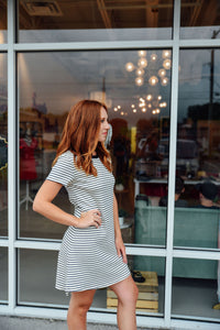 Navy and Ivory Stripe Dress
