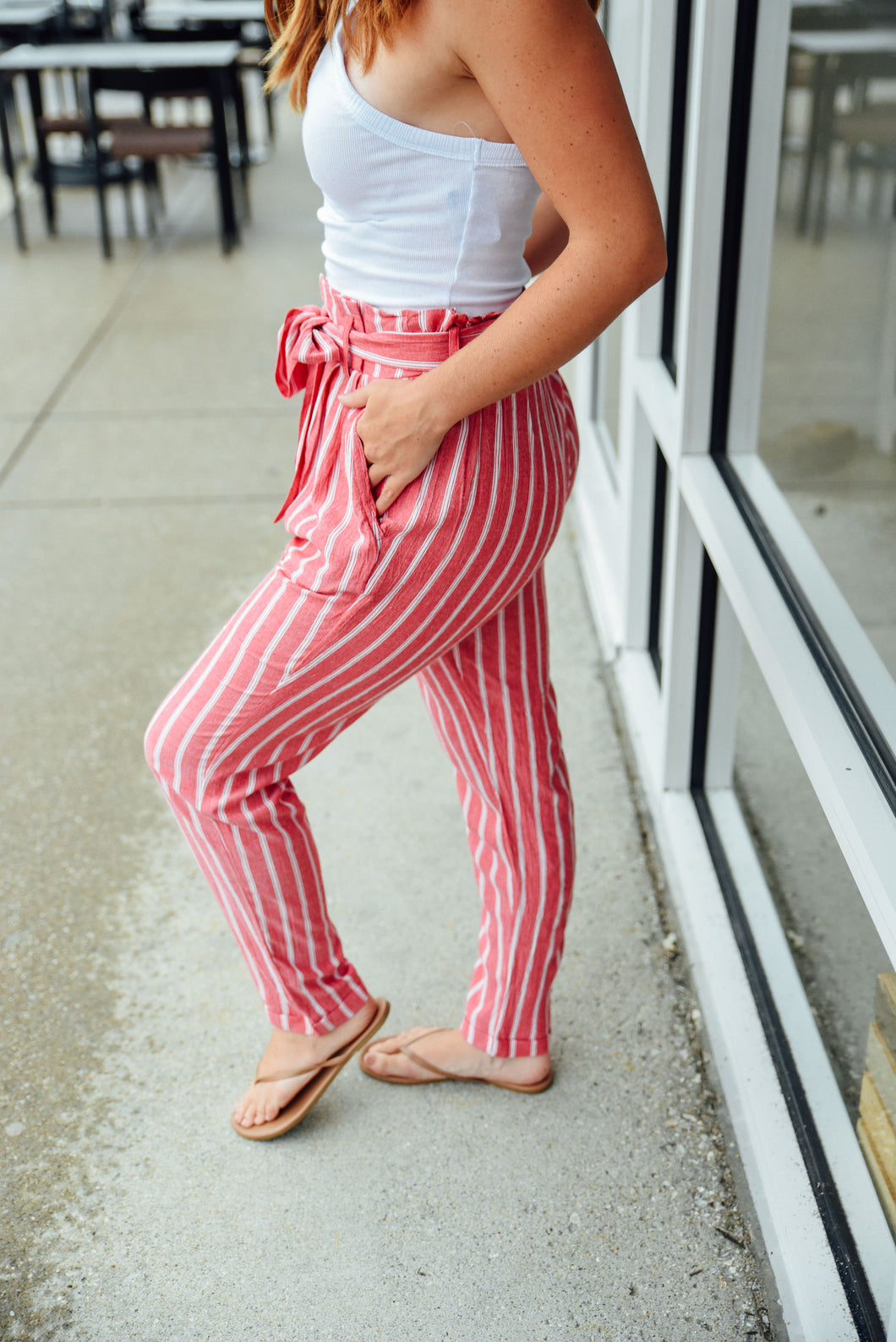 Red and Ivory Stripe Pants
