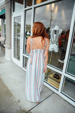 Blue and Peach Stripe Maxi Dress