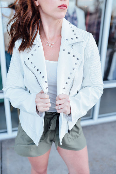 White Leather Moto Jacket