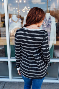 Black and White Striped Babydoll Top