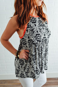Black and White Aztec Print Tank with Coral Trim