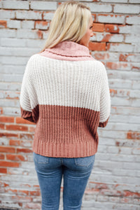 Pink Cream and Camel Colorblock Sweater
