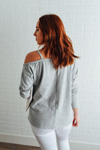 Heather Grey Open Shoulder Star Pullover