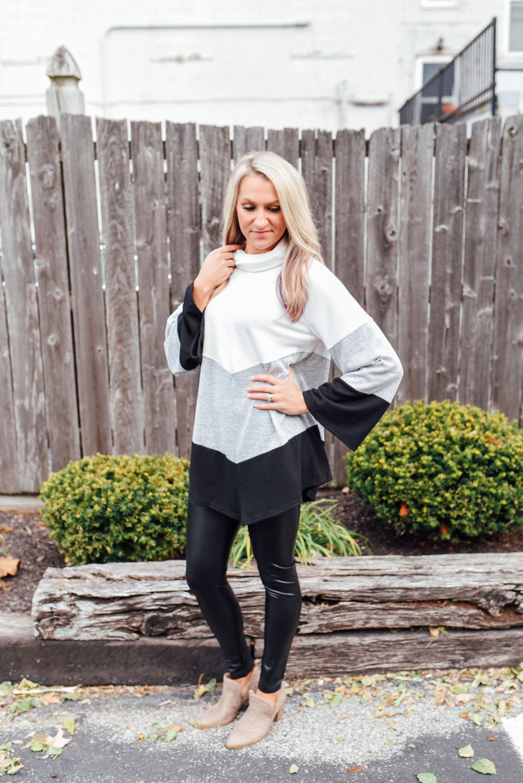 Ivory, Grey and Black Colorblock Sweater