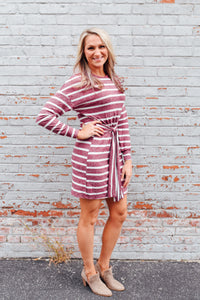 Wine and Ivory Striped Dress with Tie Front