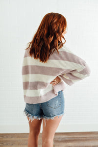 Lilac and Ivory Striped Sweater