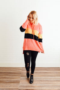 Coral Mustard and Black Popcorn Hooded Sweater