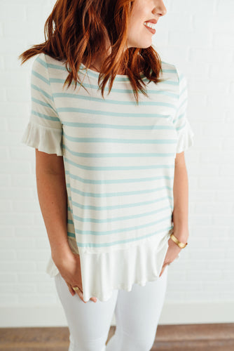 Mint and Ivory Striped Top with Ruffles