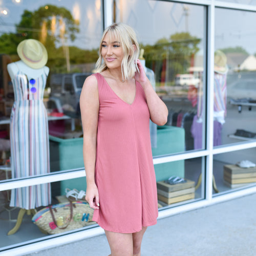 Brick V Neck Dress