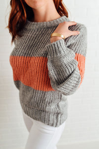 Grey and Peach Colorblock Sweater