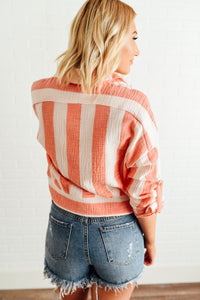 Coral Striped Button Down with Tie